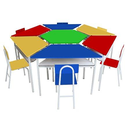 Mesas - Kit sextavado mesas angulares com 6 cad de FERRO