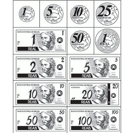 Carimbo cedulas e moedas do real - Mad. - 13 pc -Cx. papel