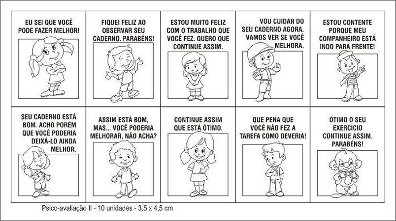 Carimbo psico avaliacao II - Mad. - 10 pc - Cx. papel