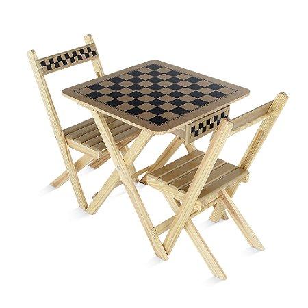 Mesa xadrez c gaveta e 2 cad - Mad e MDF - Rei 10cm - Cx pap
