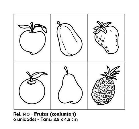 Carimbos Pedagógicos Frutas 3 5x4 5cm Conjunto 1