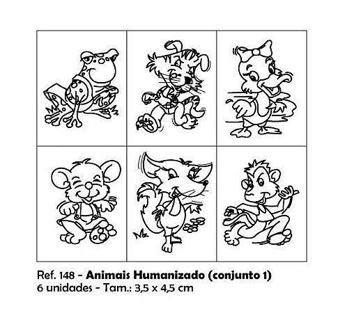 Carimbos Pedagógicos Animais Humanizados 3 5x4 5cm Conjunto 1