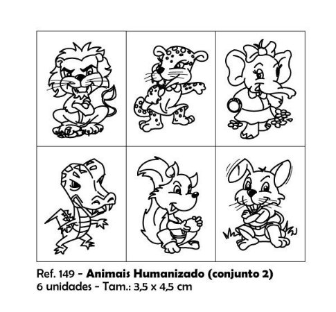 Carimbos Pedagógicos Animais Humanizados 3 5x4 5cm Conjunto 2