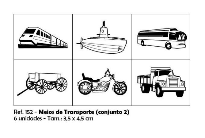 Carimbos Pedagógicos Meios De Transporte 3 5x4 5cm Conjunto 2
