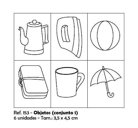 Carimbos Pedagógicos Objetos 3 5x4 5cm Conjunto 1