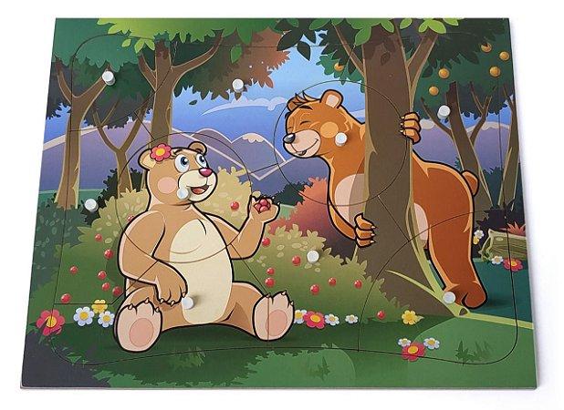 Brinquedo Educativo Quebra Cabeça Com Pinos Modelo Ursos Com 9 Peças - JOTTPLAY