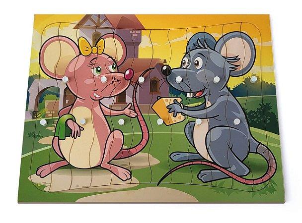 Brinquedo Educativo Quebra Cabeça Com Pinos Modelo Ratos Com 12 Peças - JOTTPLAY
