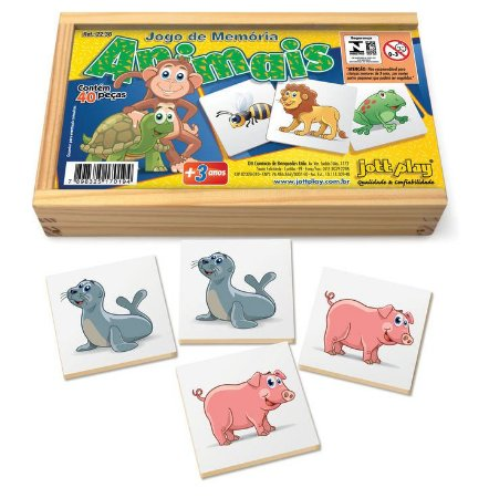Jogo De Memória Educativa Animais Com 40peças Cx Madeira
