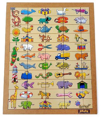 Brinquedo Educativo Quebra Cabeça Metades Tabuleiro Com 55 Peças - JOTTPLAY