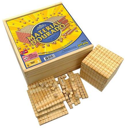 Brinquedo Educativo Material Dourado Completo 611 Peças Madeira - JOTTPLAY
