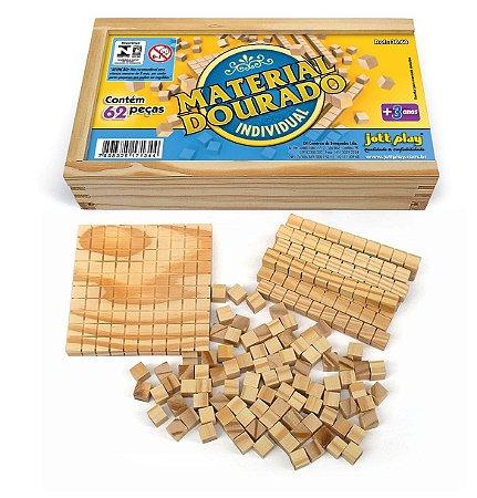 Brinquedo Educativo Material Dourado Individual 62 Peças Madeira - JOTTPLAY
