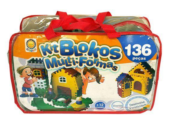 Kit Blocos Contendo 136 Peças Em Plastico