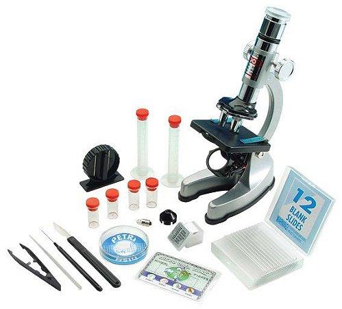 Microscópio 900X Com espelho e luz à pilha aumento de 100 a 900X Com zoom e acessórios
