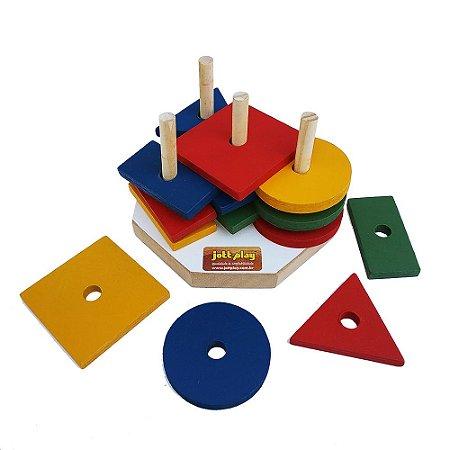 Brinquedo Educativo Torre De Formas Geométricas Co Em Madeira - JOTTPLAY