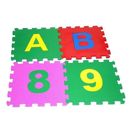 Tapete Educativo Infantil Alfanumérico Gigante Em Eva Com 36 Peças