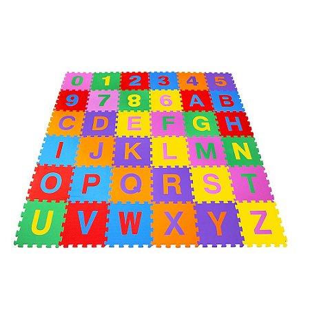 Tapete Educativo Infantil Alfanumérico Pequeno Em Eva 67X67 cm