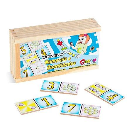 Brinquedo Educativo Dominó Numerais E Quantidades Em Mdf Com 28 Peças - CARLU