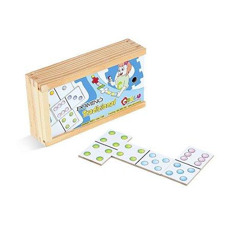 Brinquedo Educativo Dominó Tradicional Em Mdf Com 28 Peças - CARLU