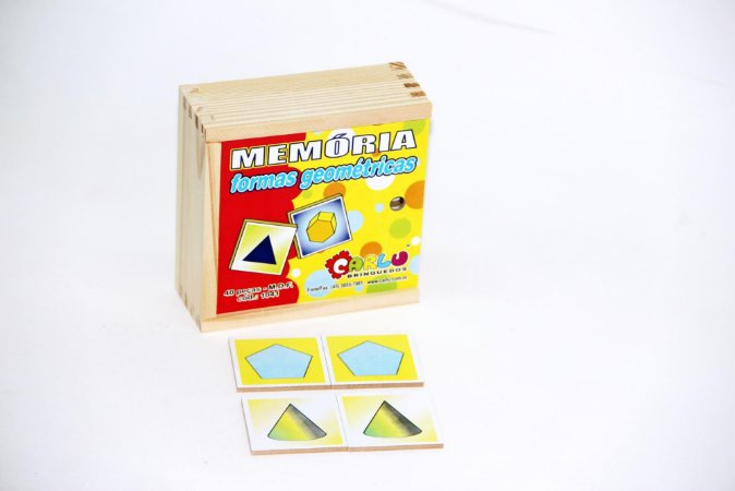 Brinquedo Educativo Memória Formas Geométricas MDF 40 Peças - CARLU