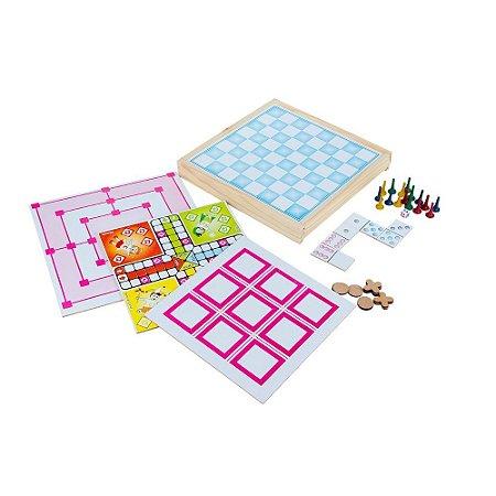 Brinquedo Educativo Jogo 5 Em 1 Em Mdf Dama domino jogo de trilha jogo da velha Ludo - CARLU