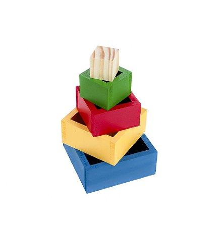 Cubos de Encaixe Caixas Coloridas  MDF 5 Peças - CARLU