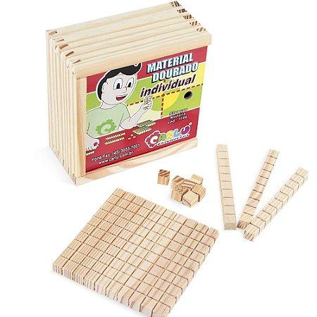 Brinquedo Educativo Material Dourado Individual 62 Peças Madeira - CARLU