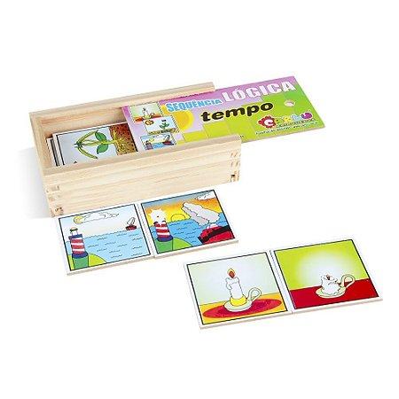 Brinquedo Educativo Sequençia Lógica Tempo Em Mdf Com 16 Peças - CARLU