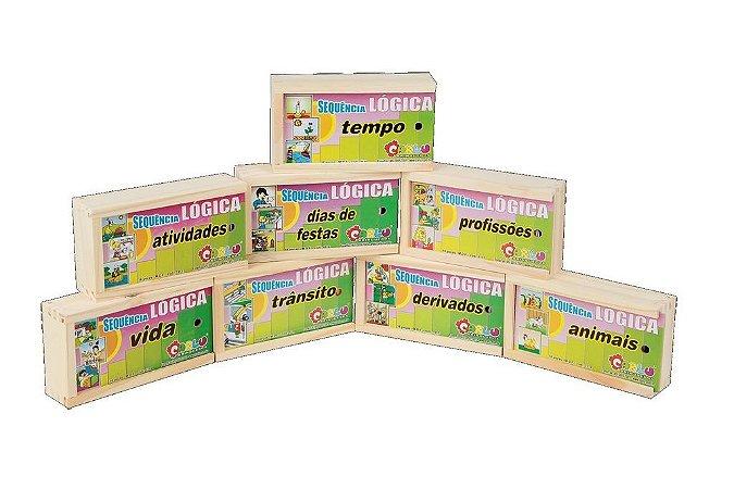 Brinquedo Educativo Sequençia Lógica Kit Em Mdf 8 Jogos Sortidos - CARLU