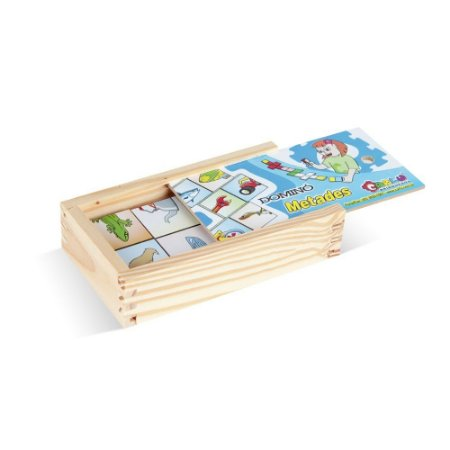 Brinquedo Educativo Dominó Metades Em Mdf Com 28 Peças - CARLU