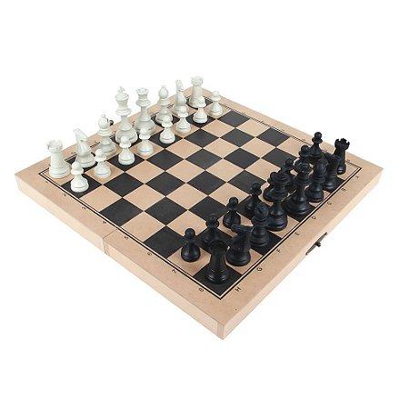 Brinquedo Educativo Jogo Xadrez Oficial Rei 10cm 32 Peças Mdf - CARLU