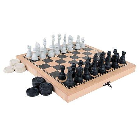 Jogo Xadrez E Damas Colegial Rei 5 Cm 56 Peças Mdf