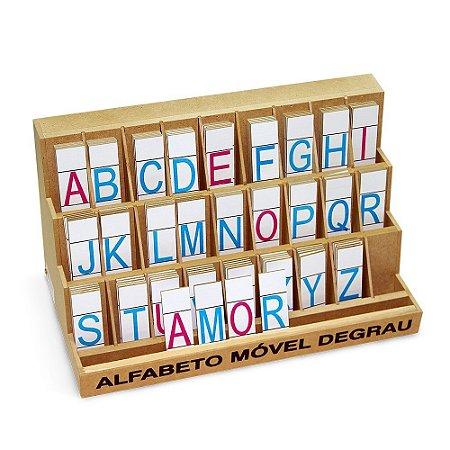 Alfabeto Móvel Degrau Com 130 Letras Em Mdf