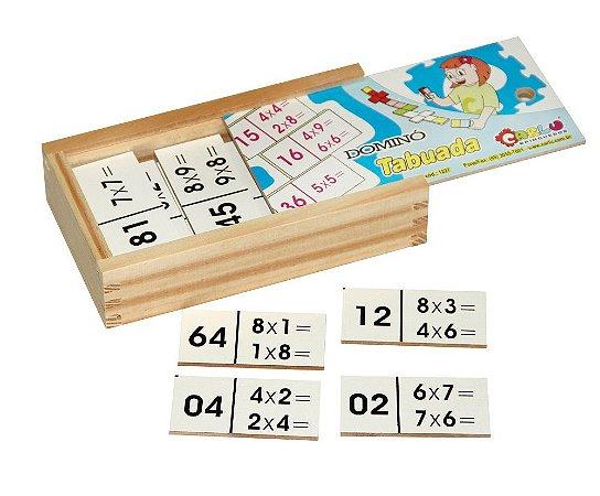 Brinquedo Educativo Dominó Tabuada Em Mdf Com 28 Peças - CARLU