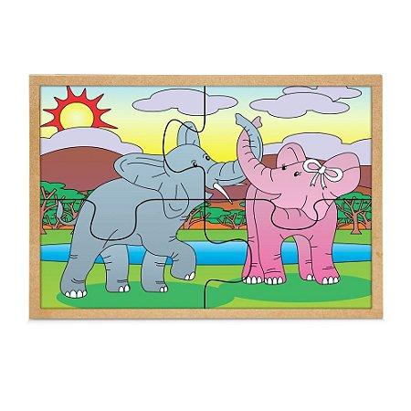 Quebra Cabeça Casal Elefantes Base Mdf Com 4 Peças