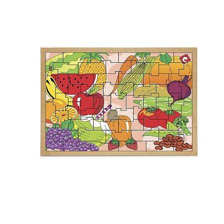 Brinquedo Educativo Quebra Cabeça Frutas E Legumes Base Mdf Com 55 Peças - CARLU