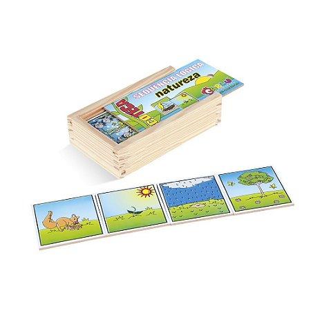 Brinquedo Educativo Sequençia Lógica Natureza Em Mdf Com 16 Peças - CARLU