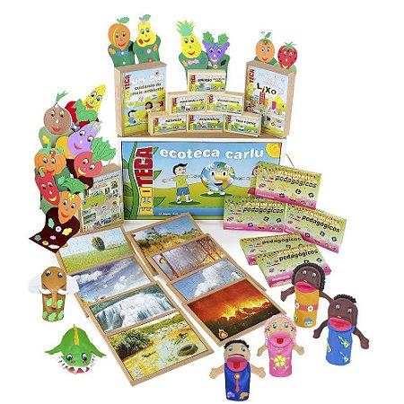Brinquedo Educativo Ecoteca 23 jogos 2 maletas MDF - CARLU