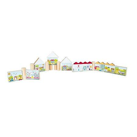 Brinquedo Educativo Pequena Cidade Em Mdf 100 Peças - CARLU
