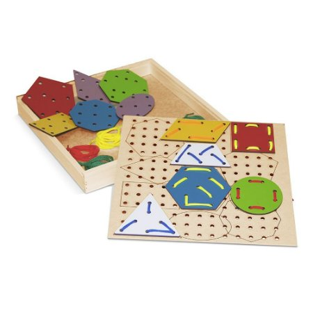 Brinquedo Educativo Alinhavos Formas Geométricas Em Mdf Com 12 Peças - CARLU