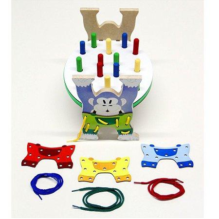 Brinquedo Educativo Bate martelo E Alinhave Gorila Em MDF - CARLU