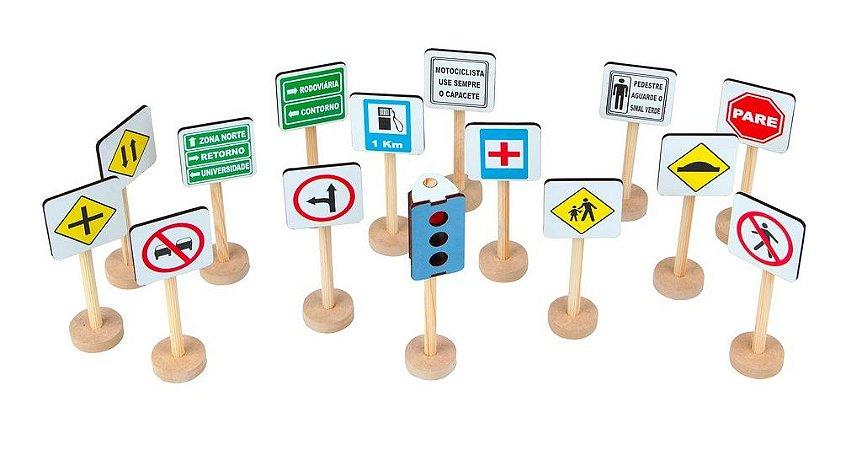 Jogo Educativo Mini Kit De Trânsito Em Mdf 15 Placas.