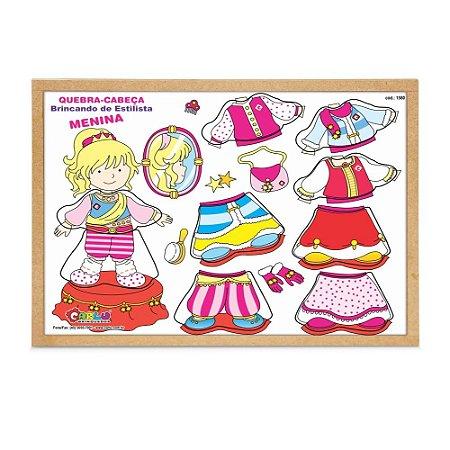 Brinquedo Educativo Quebra Cabeça Menina Estilista Base Mdf 9 Peças - CARLU