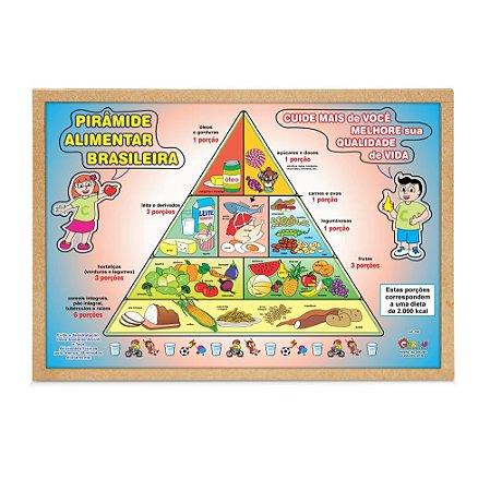 Brinquedo Educativo Quebra Cabeça Pirâmide Alimentar Brasileira Base Mdf - CARLU