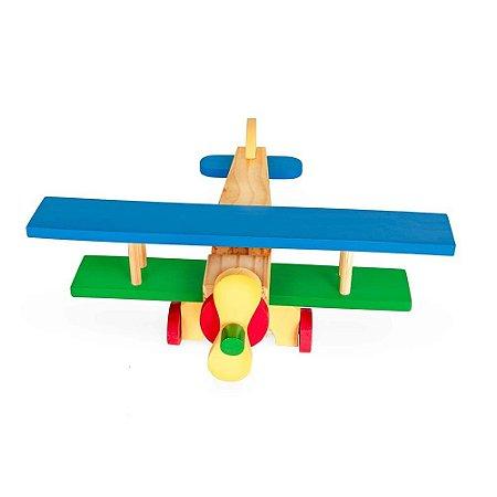 Brinquedo Educativo Aviao De Madeira Colorido - CARLU