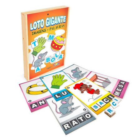 Brinquedo Educativo Loto Gigante Imagens E Palavras Em Mdf Com 30 Peças - CARLU