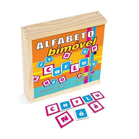Alfabeto BiMóvel Em Mdf 128 Peças s Madeira