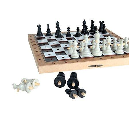 Jogo De Xadrez Adaptado Grande Rei 10cm 32 Peças Mdf