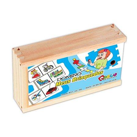 Dominó Educativo Meus Brinquedos Em Mdf Com 28 Peças