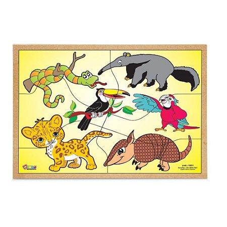 Brinquedo Educativo Quebra Cabeça Animais Da Fauna Brasileira Base Mdf - CARLU