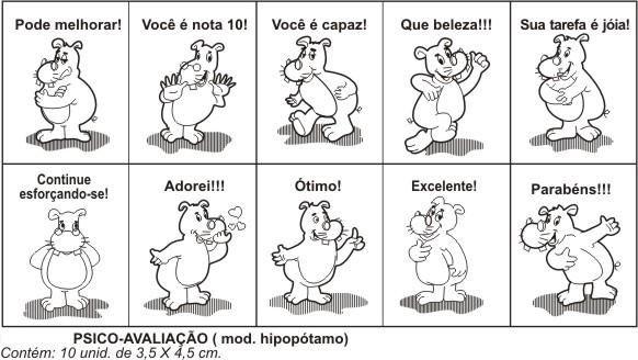 Carimbo Psico Avaliacao Hipopotamo 10 Peças